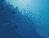 A deep blue sea and corals background. Décor de coraux dans la mer bleu.