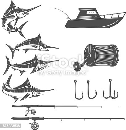 Deep sea design elements isolated on white background. Sword fish icons. Images for  label, emblem, sign, menu. Vector illustration.