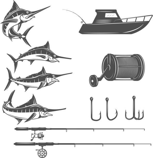 ilustrações de stock, clip art, desenhos animados e ícones de deep sea design elements isolated on white background. sword fish icons. images for label, emblem, sign, menu. vector illustration. - fishing boat
