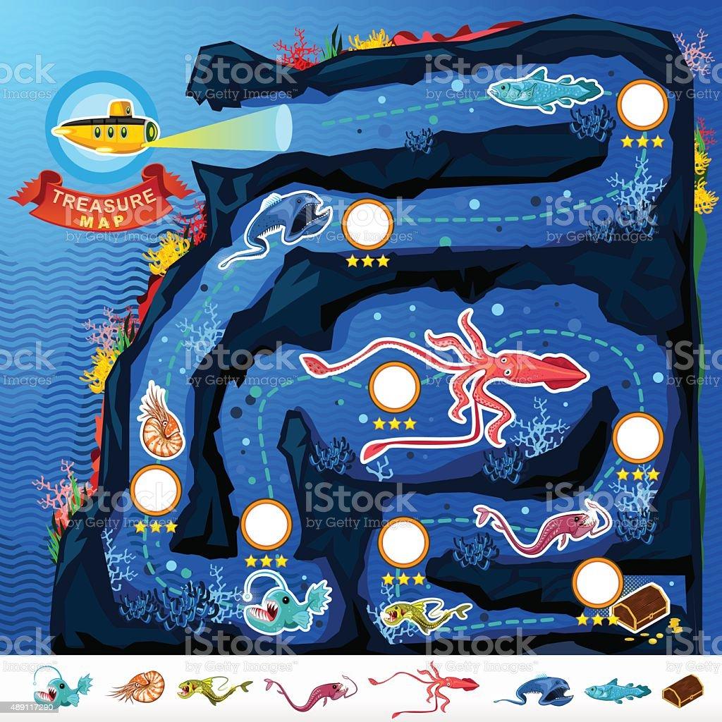 Deep Sea Exploration Treasure Game Map vector art illustration