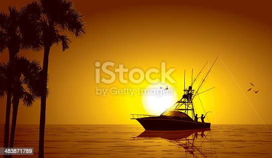 Deep Sea Fishing at Sunset Background. Graphic silhouette illustration of a deep sea fishing boat. Check out my