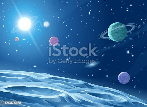 Surface of a gray alien planet, asteroid or moon saturated with craters. In the background is a dark blue sky full of stars, planets and galaxies, and a bright shiny pulsar. Vector illustration with space for text.