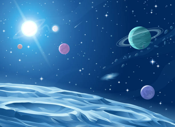 Deep Space Surface of a gray alien planet, asteroid or moon saturated with craters. In the background is a dark blue sky full of stars, planets and galaxies, and a bright shiny pulsar. Vector illustration with space for text. planet space stock illustrations
