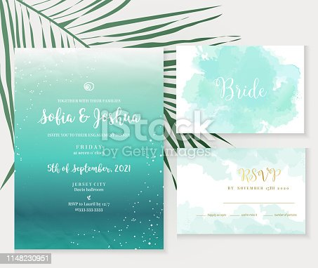 Deep teal ocean and blue watercolor vector design cards. Seascape summer vacation frames. Tropical elegant wedding invitations. Splash texture. Island style. All elements are isolated and editable