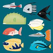 Deep water sea tropical aquatic marine fish set