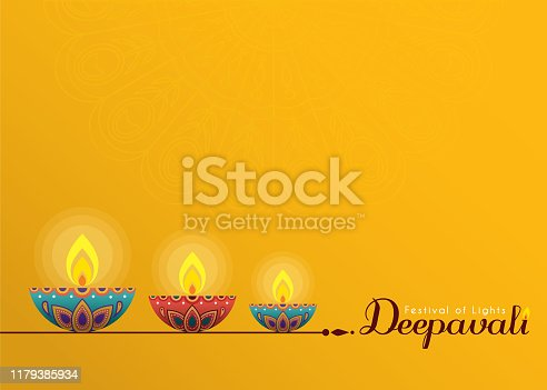 Deepavali or Diwali template or copy space. Beautiful burning diwali diya (india oil lamp) isolated on yellow background. Festival of Lights celebration vector illustration.