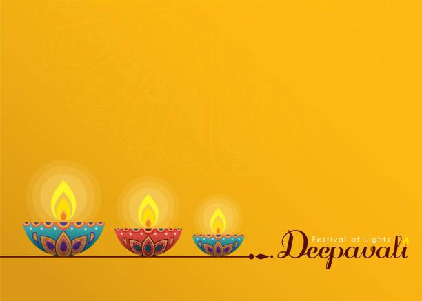 Deepavali or Diwali template - diwali diya on yellow background. Deepavali or Diwali template or copy space. Beautiful burning diwali diya (india oil lamp) isolated on yellow background. Festival of Lights celebration vector illustration. diwali stock illustrations