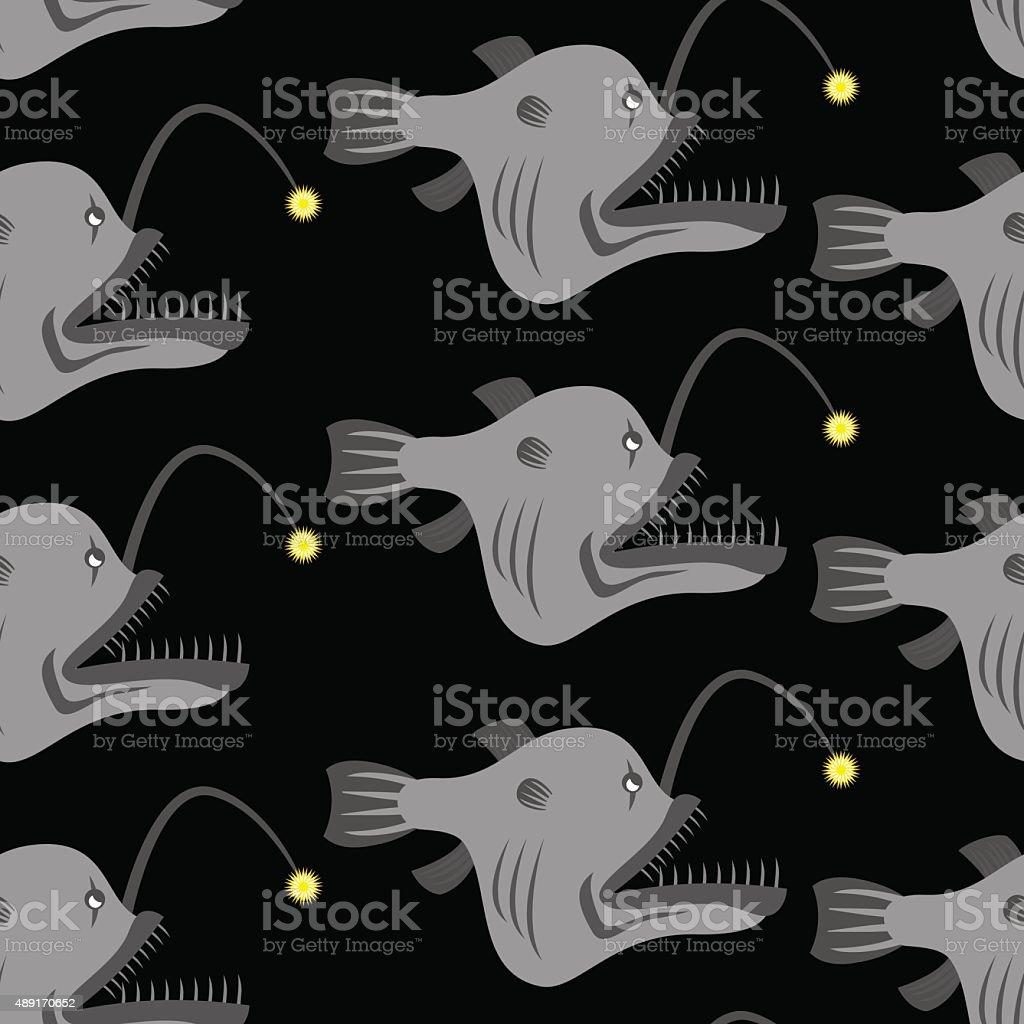Deep-sea anglerfish seamless pattern. Vector background Fish Mon vector art illustration