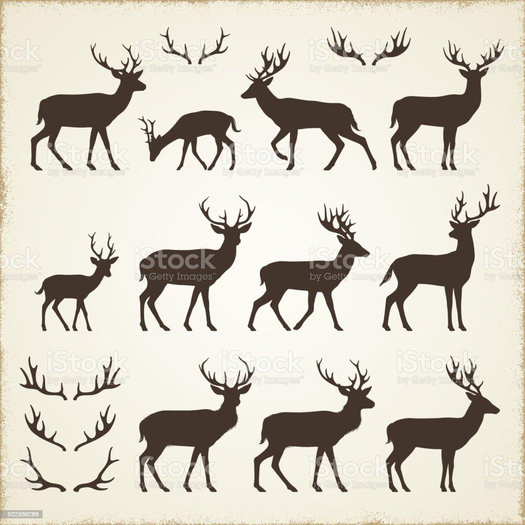 Ilustración de Deer Y Cuerno Siluetas y más banco de imágenes de ...