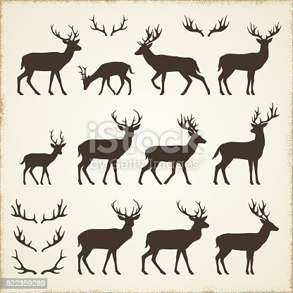 Set of deer silhouettes. Please take a look at other work of mine linked below.http://www.myimagelinks.com/i.LIGHTBOXES/NATURE_files/NATURE.jpg