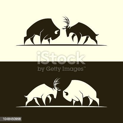 Cut out vector silhouette of buffalo bull and horned deer