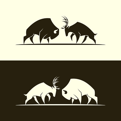 Deer and buffalo bull cut out silhouette