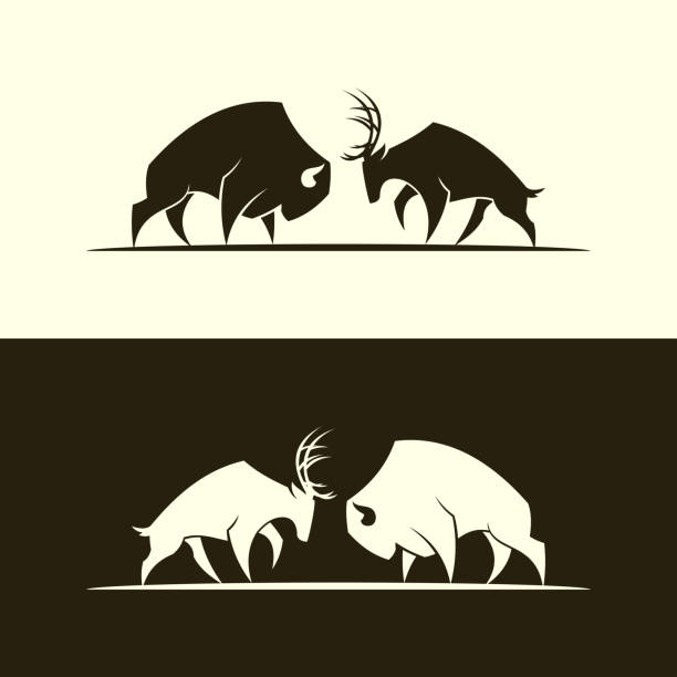 Deer and buffalo bull cut out silhouette Cut out vector silhouette of buffalo bull and horned deer american bison stock illustrations