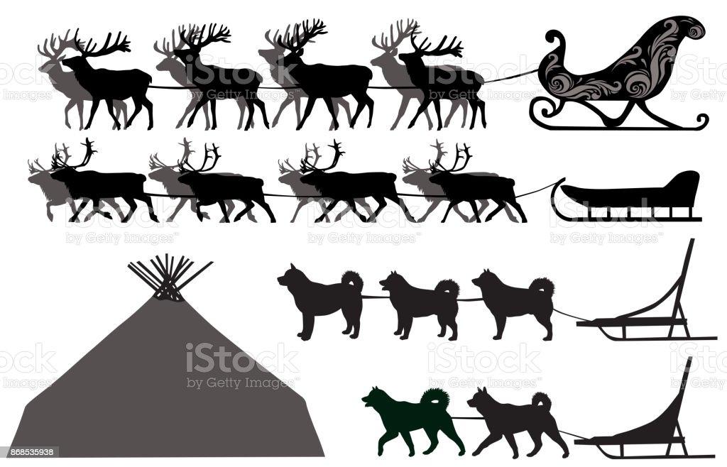 Deer and dog sleds vector art illustration