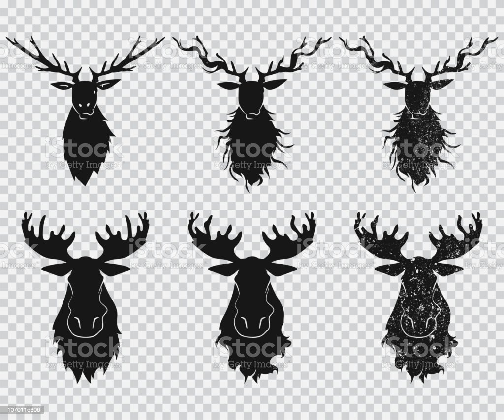 Deer And Elk Head With Antlers Black Silhouette Vector Icons Set