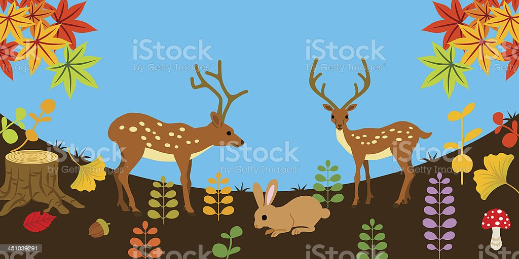 Deer and rabbit in Autumn nature vector art illustration