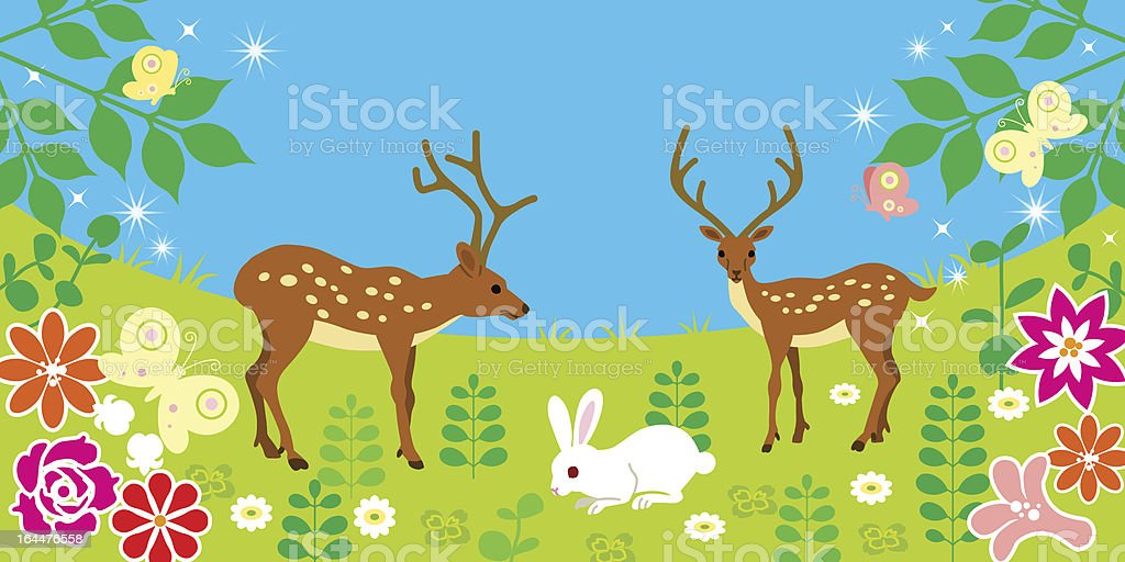 Deer and rabbits in the Spring field royalty-free stock vector art