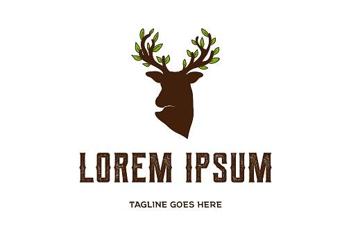 Deer Antler Horn Tree Leaf Leaves symbol Design Vector
