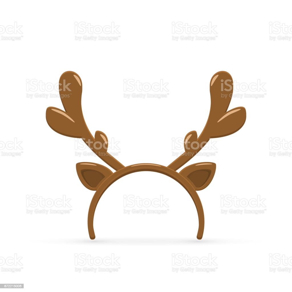 Deer antler on white background vector art illustration