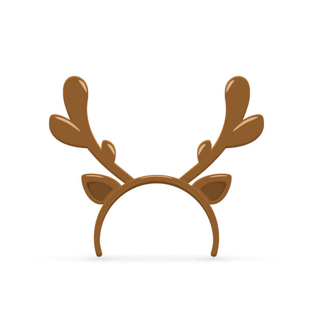 deer antler on white background - reindeer stock illustrations
