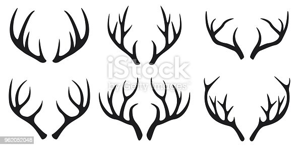 Vector illustration of Deer antlers black icons set on white background