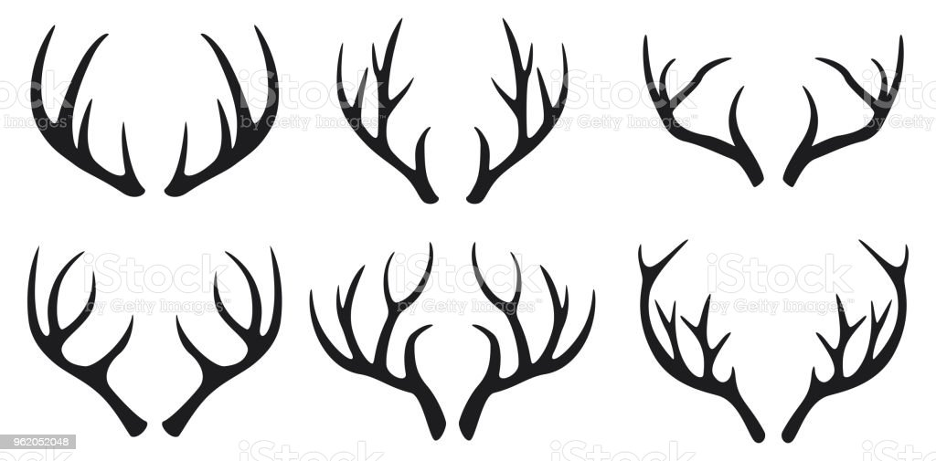 Deer antlers black icons set on white background vector art illustration