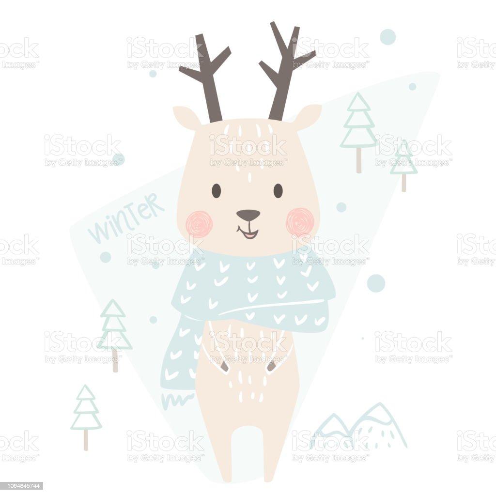 Deer Baby Winter Print Cute Animal In Warm Scarf Christmas Card ...