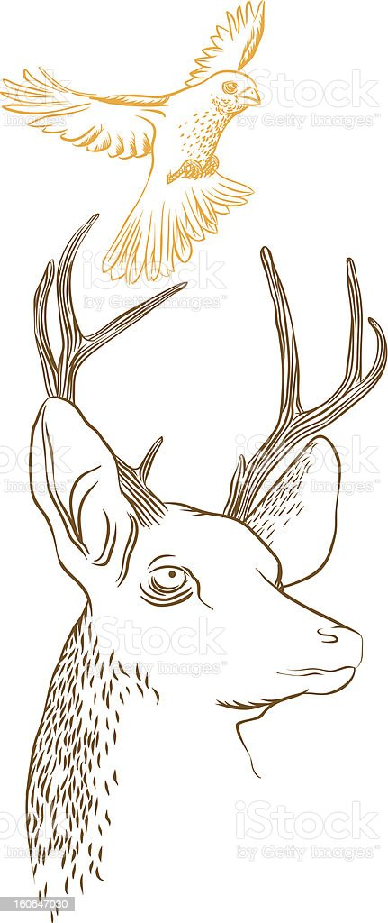 Deer & Bird royalty-free stock vector art