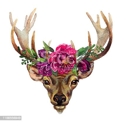 Deer Boho Style Flowers Stipple Effect. An original artwork vector illustration of hand drawn deer in the boho style decorated with flowers.This inspirational design can be a postcard, invitation, web banner, shop window, postcard, invitation, poster or prints.