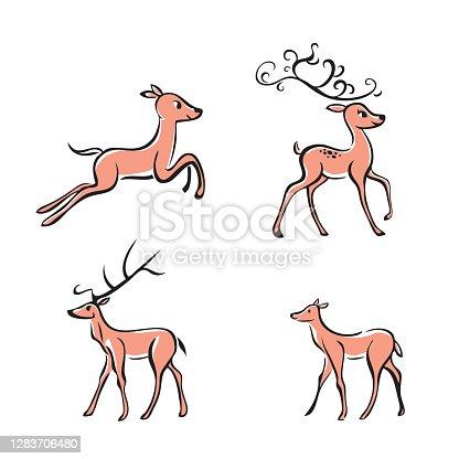 istock Deer Brush Line Art 1283706480