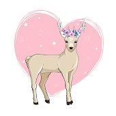 Deer cartoon illustration design.Cute bambi animal vector.