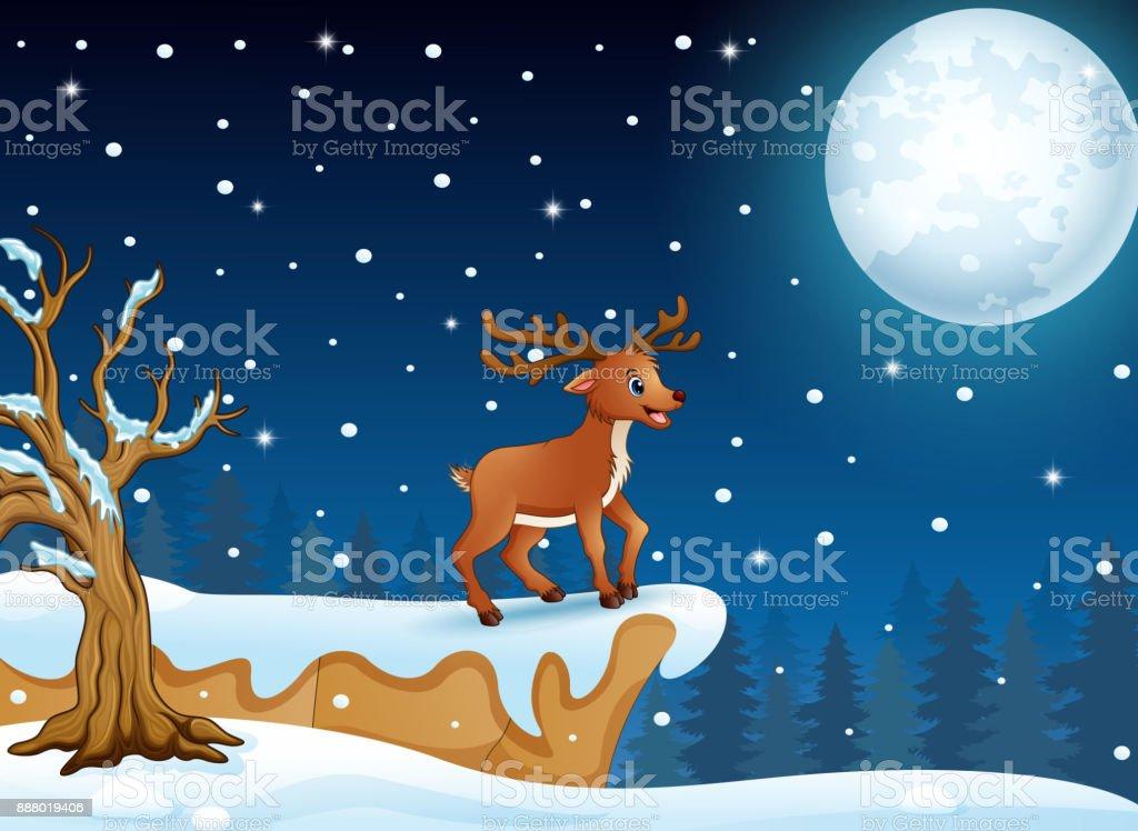 Vetores De Cervos Dos Desenhos Animados Em Pe No Morro Na Noite De