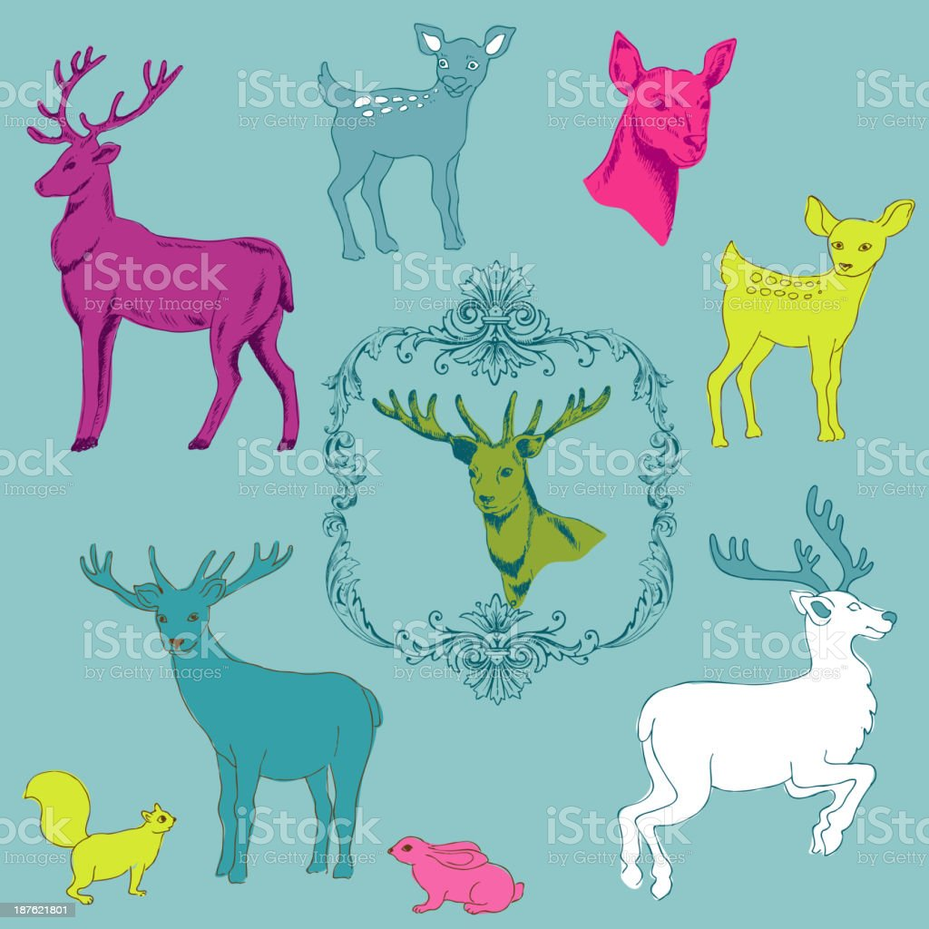 Deer Christmas Set - for design and scrapbook royalty-free stock vector art