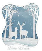 Deer couple standing in the forest with winter snow,nature background for christmas holiday,celebration party,happy new year or greeting card