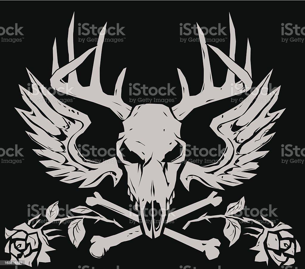 Deer Crossbones vector art illustration