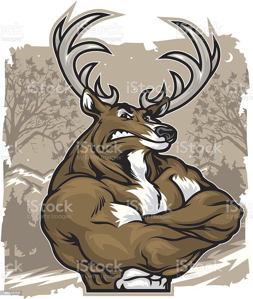 Deer Crossed vector art illustration