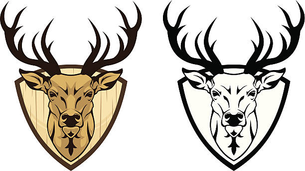 Deer emblem Head of  deer on shield (color and b/w variant).  stuffed stock illustrations