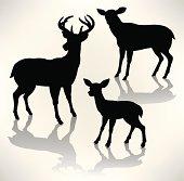 Deer Family - Buck, Doe, Fawn Silhouettes