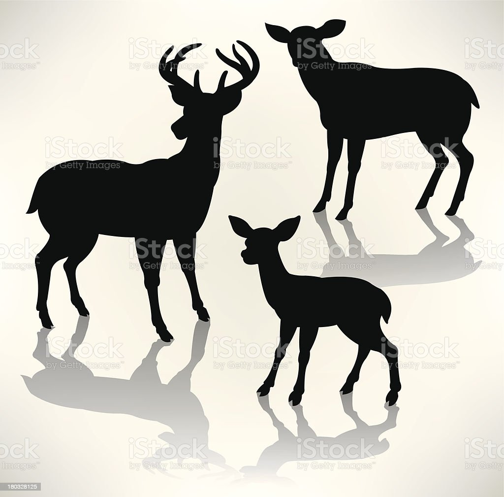 Cervidé-Buck et Doe, faon Silhouettes - Illustration vectorielle