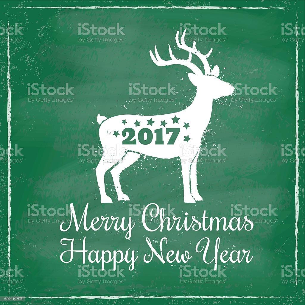 deer for Christmas on chalkboard background ベクターアートイラスト