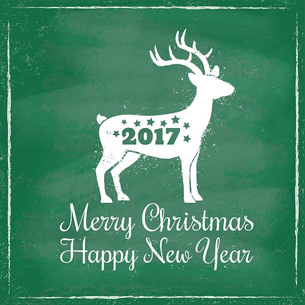ilustrações, clipart, desenhos animados e ícones de deer for christmas on chalkboard background - calendário de vida selvagem
