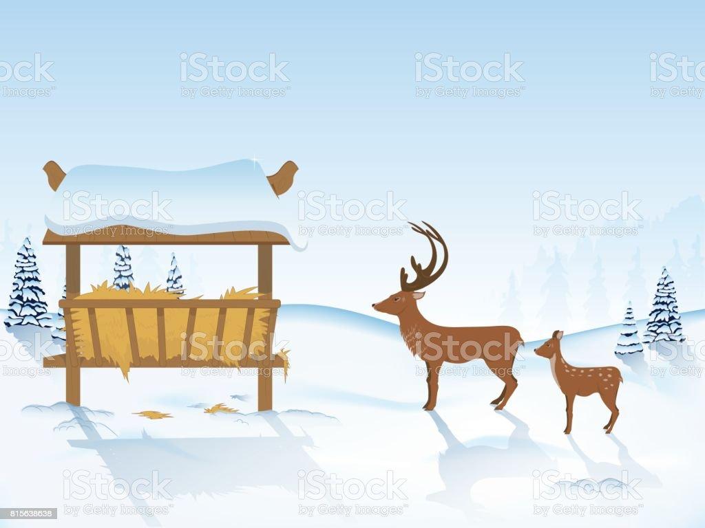 deer go to the feeder vector art illustration