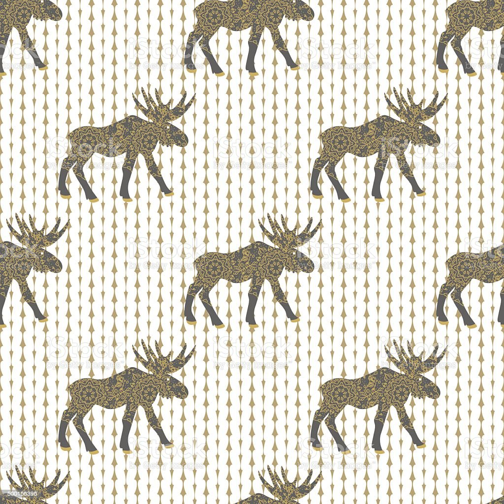 Deer gold christmas vector seamless pattern with white knitted texture