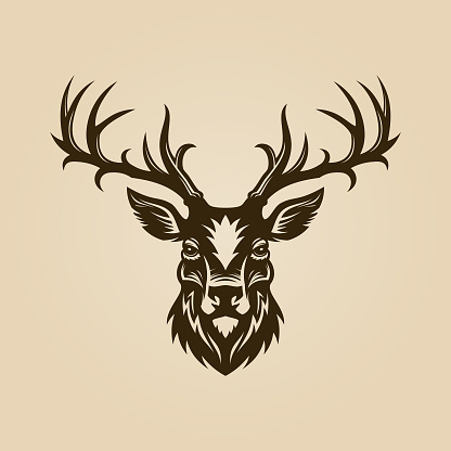 Deer head cut out silhouette. Horned elk or stag icon.