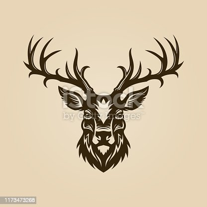 Deer head cut out vector silhouette. Horned elk or stag icon.