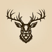 istock Deer head cut out silhouette. Horned elk or stag icon. 1173473268