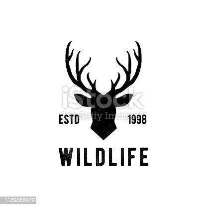 Deer head Design Element in Vintage Style for Logotype, Label, Badge, T-shirts and other design. Hunting club Retro vector illustration. - Vector