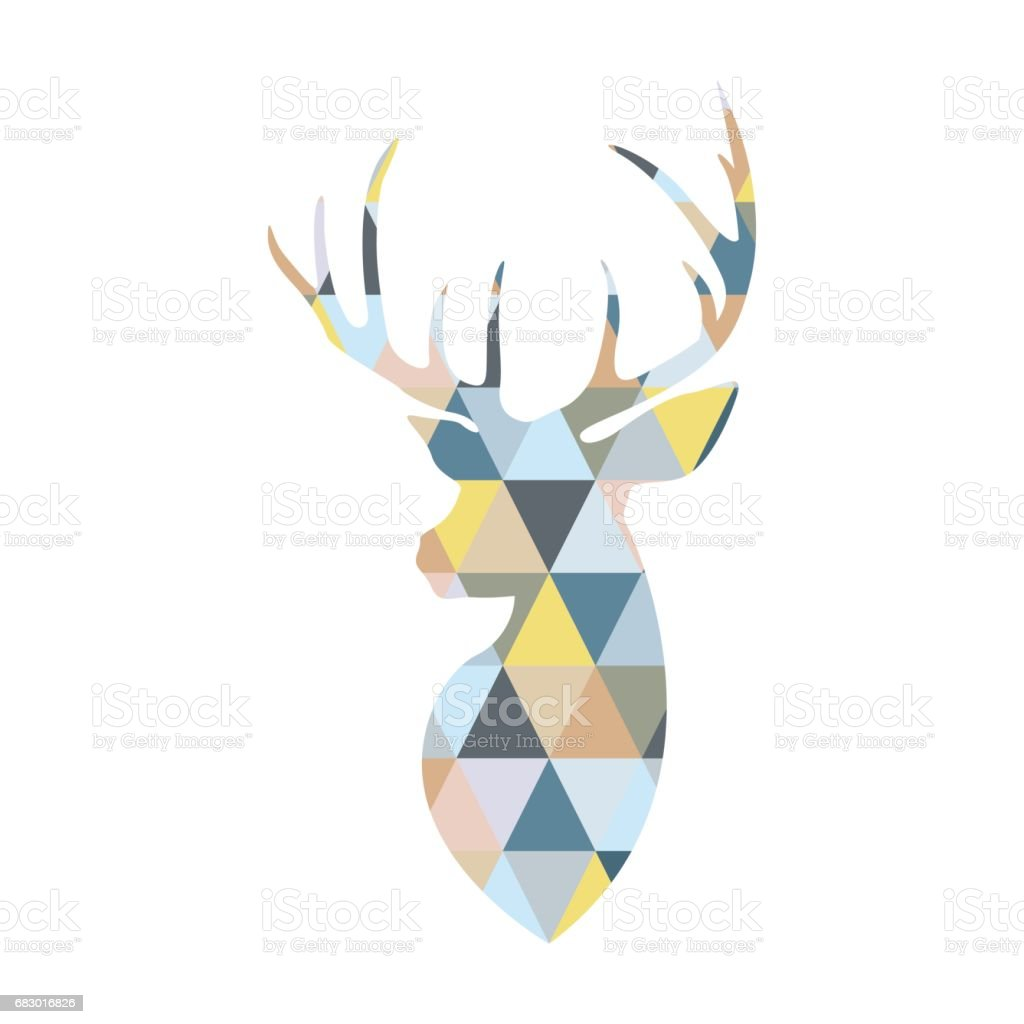Deer head formed by triangular multicolored shapes. Scandinavian style. vector art illustration