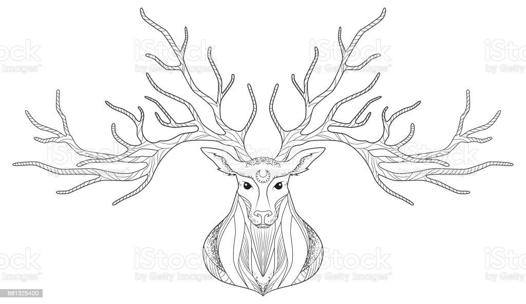 Deer head, graphic head drawing, vector illustration royalty-free deer head graphic head drawing vector illustration stock vector art & more images of animal
