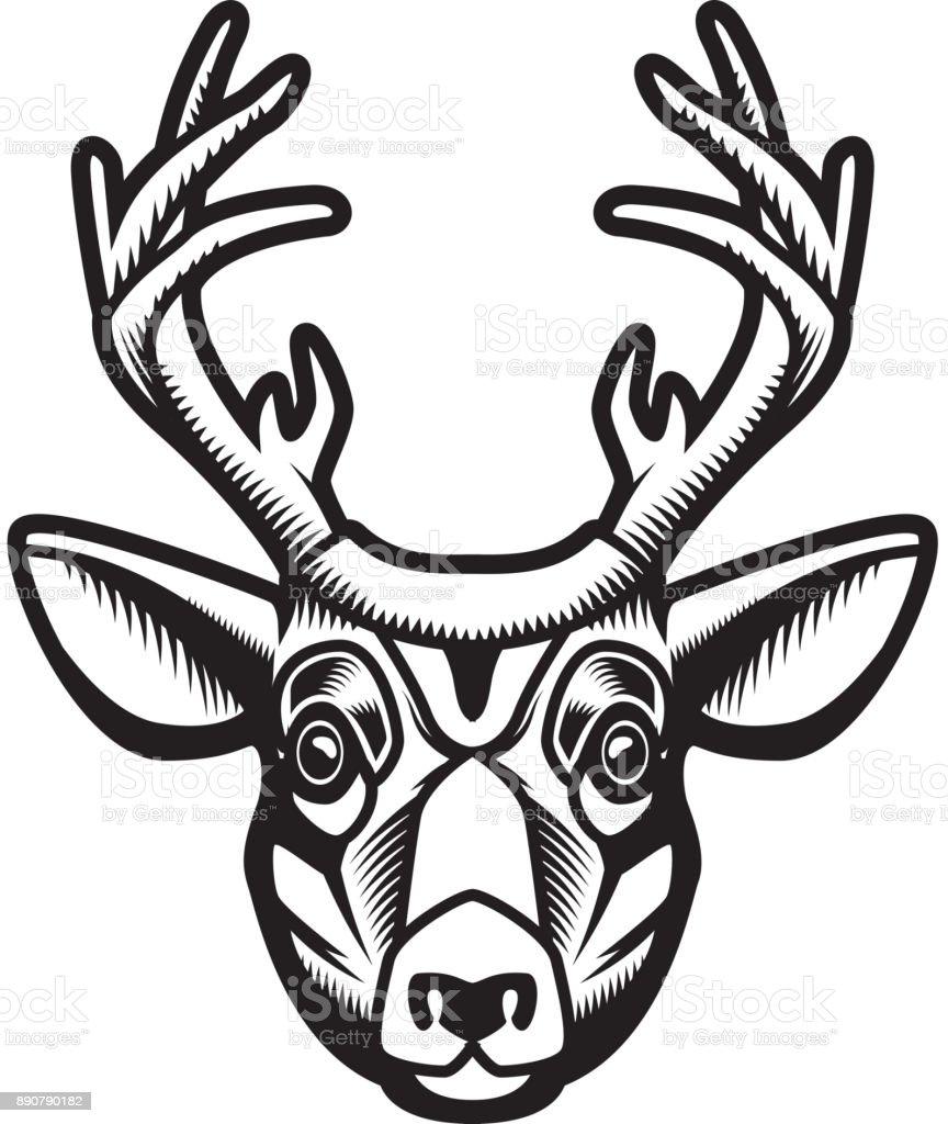 Deer Head Illustration Isolated On White Background Design Element For Emblem Sign Poster